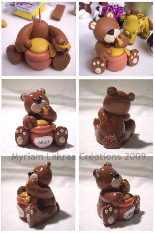 Ours gourmand - Peinture-modelage, le blog des créations fimo et peintures de Myriam LAKRAA