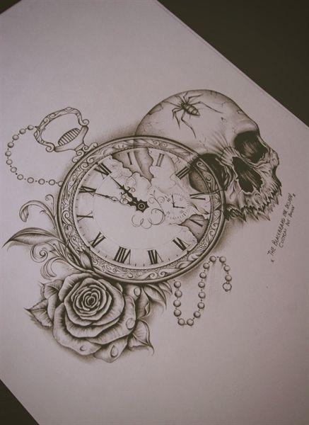 Pocketwatch, rose and skull drawing in pencil