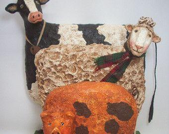 Primitive Paper Mache Folk Art Farm Animals Cow Sheep Pig