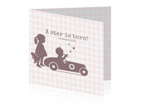 Geboortekaartje meisje tweede kind profiel raceauto met ster