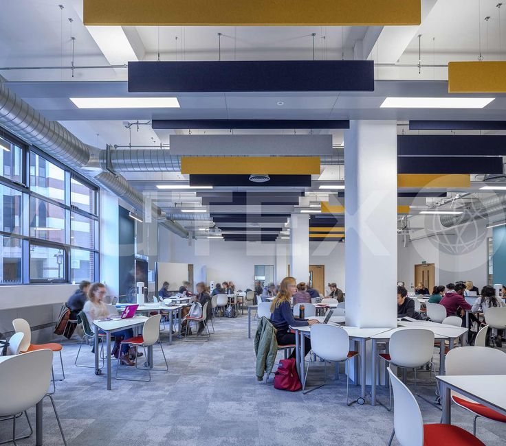 Autex Acoustics - Cube™ - London School of Economics, UK - Suspended from ceiling - Colours: Pinnacle, Senado and Flatiron - Acoustics in Education - Modern Learning Environment