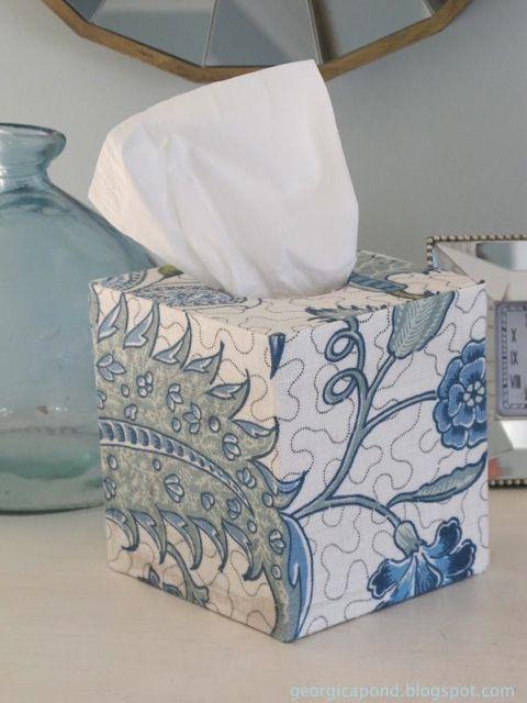 Hamptons Style – Home Tour  fabric covered tissue box. e