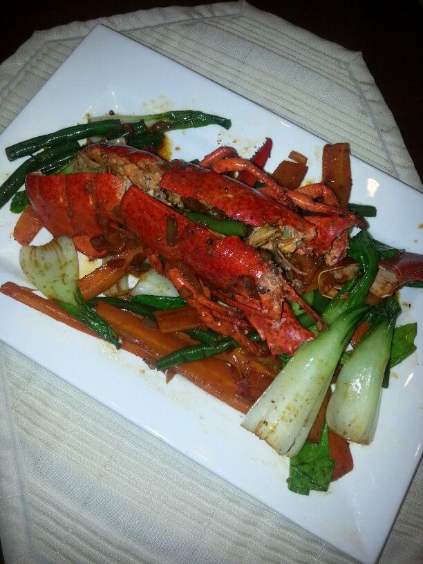 Spicy lobster with bokchoy ala neil