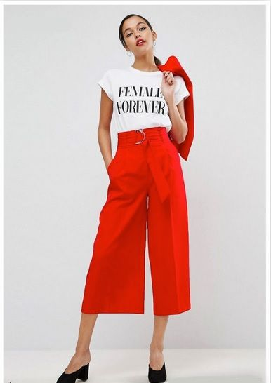 White graphic t-shirt+red culotte pants+red blazer+black bacless pumps. Summer Dressy Casual Outfit 2017