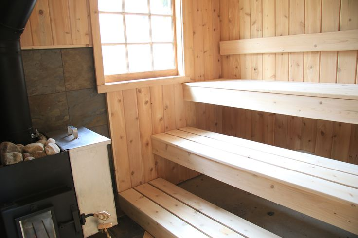 Plenty of daylight and Lamppa Kuuma heater in this sauna by Rob Licht Custom saunas.