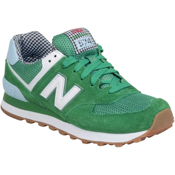 New Balance Women's 574 Picnic Sneaker (£39) ❤ liked on Polyvore featuring shoes, sneakers, green, new balance sneakers, new balance trainers, green sneakers, new balance footwear and lacing sneakers