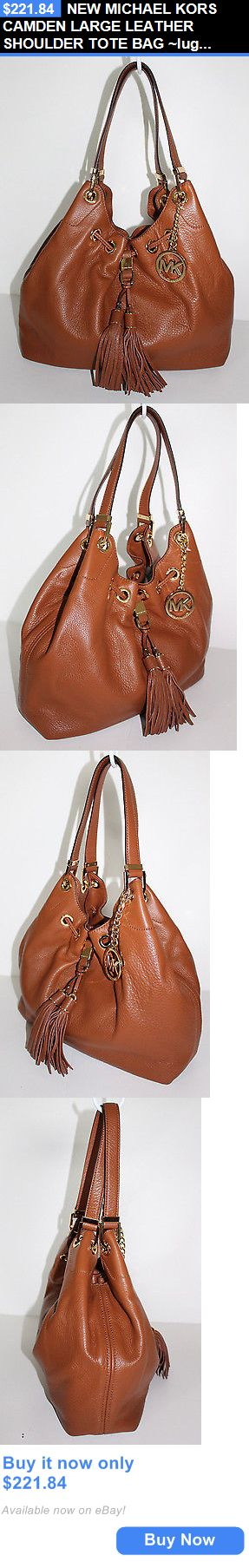 Women Handbags and Purses: New Michael Kors Camden Large Leather Shoulder Tote Bag ~Luggage BUY IT NOW ONLY: $221.84