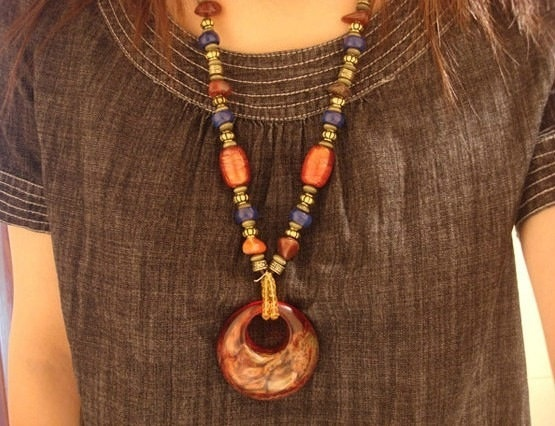 Handmade Nepalese Tibetan beads pendant by nepalesejewelry on Etsy, $15.99
