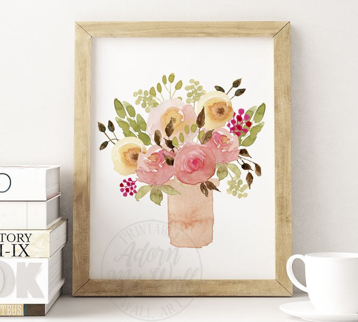 Pink Flowers, Shabby Chic, Floral Print, Pink Flower Print, Watercolour Print, Watercolour Flowers, Floral Wall Art, Watercolor Floral Art by AdornMyWall on Etsy