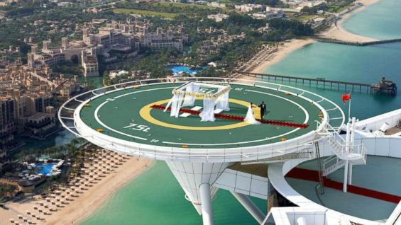 Get the scoop on the helipad wedding package from the oh-so-luxurious Burj Al Arab in Dubai