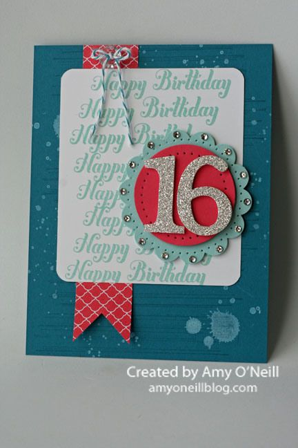 Island Indigo, Pool Party, Whisper White and Strawberry Slush card stock, silver glimmer paper Strawberry Slush dsp, Island Indigo, Pool Party and Whisper White craft inks, vintage button, island indigo baker's twine, paper piercer, typeset alphabet (number dies) and rhinestones