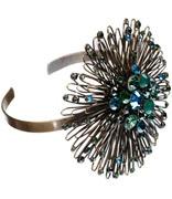 Konplott Jewelry:  Bracelet Distel bangle multi green stone/antique brass wire flower:  so beautiful