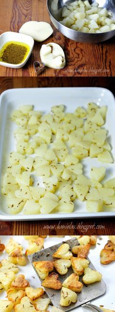 Delicious Roasted Potatoes- a cute idea to have with steak. I need to get a heart shaped cutter:-)