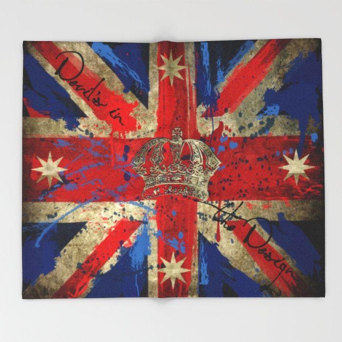 Union Jack & Eureka Flag Throw Blanket