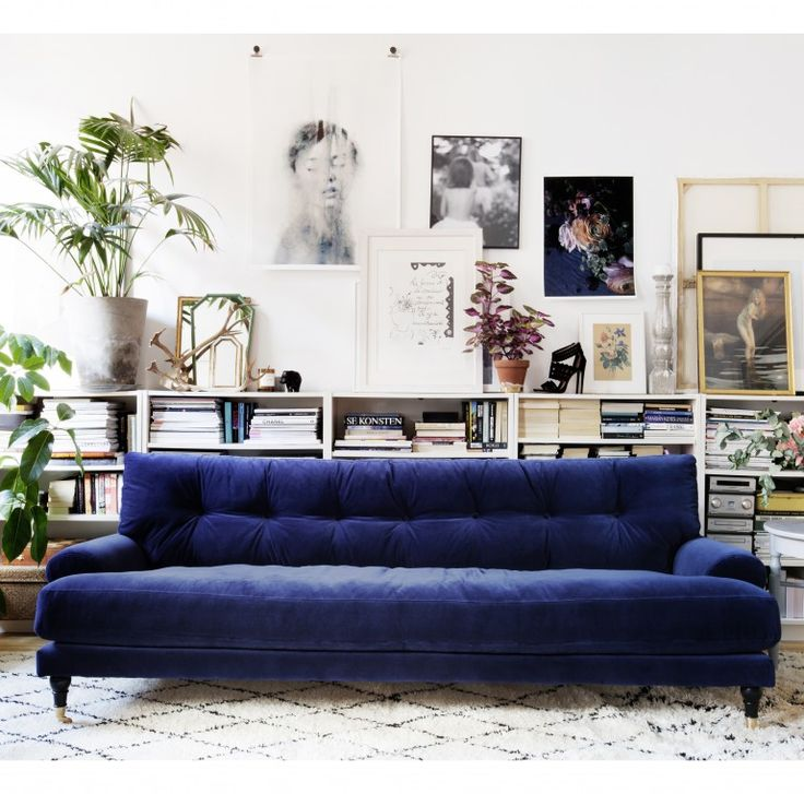 statement sofa / blue velvet / gallery wall