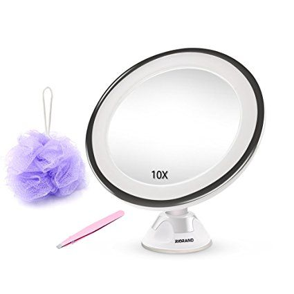 10x Magnifying Vanity Mirror LED Lighted Cosmetic Makeup Shower Mirror with Locking Suction Cup,360 Degree Swivel Rotation,Ideal for Bedroom Bathroom Travel
