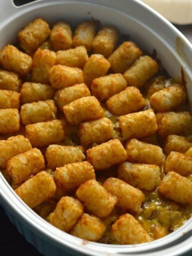 Tator Tot Casserole. Dinner that the entire family will enjoy. Easy and delicious! CopyKat.com