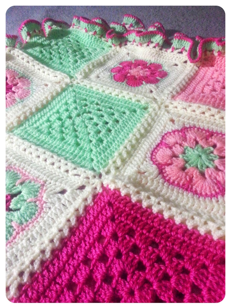 Crochet Patchwork Flower Blanket - Custom made for a baby girl in Ohio