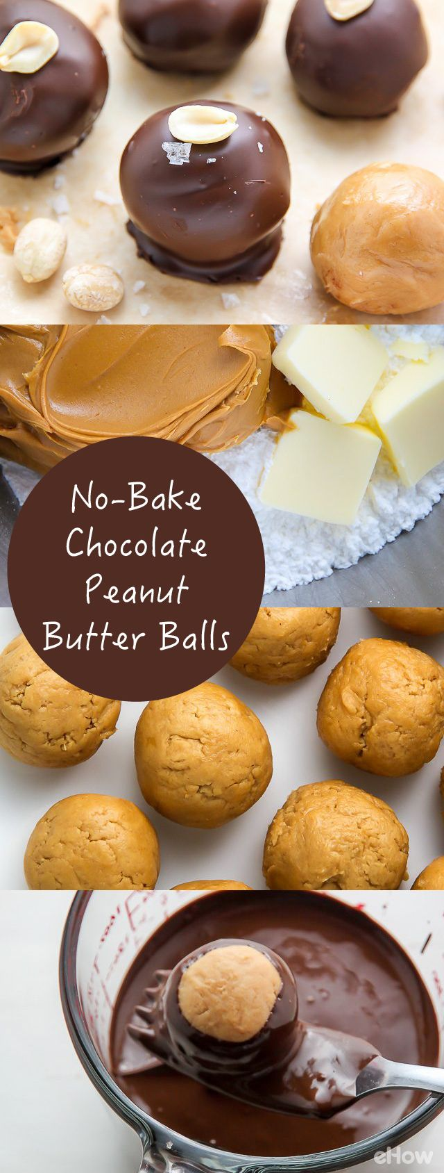 No-bake chocolate peanut butter balls!!!  Easy, delicious, chocolatey and peanut butter-y. The perfect little desserts for any occasion. The fact that they're no-bake and make-ahead friendly just puts this treat over the top. http://www.ehow.com/how_3391208_make-no-bake-chocolate-peanut.html?utm_source=pinterest.com&utm_medium=referral&utm_content=freestyle&utm_campaign=fanpage