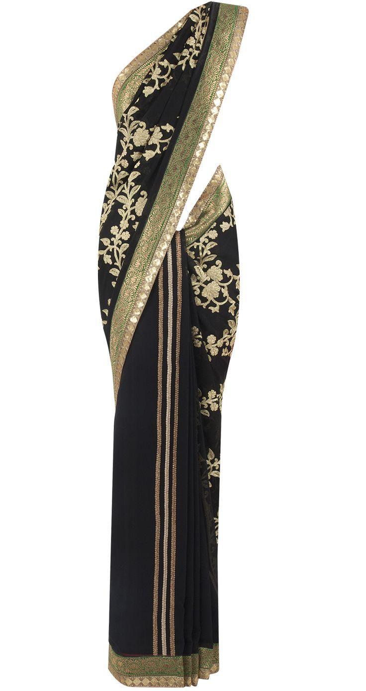 Black and gold chiffon georgette sari by OHAILA KHAN.