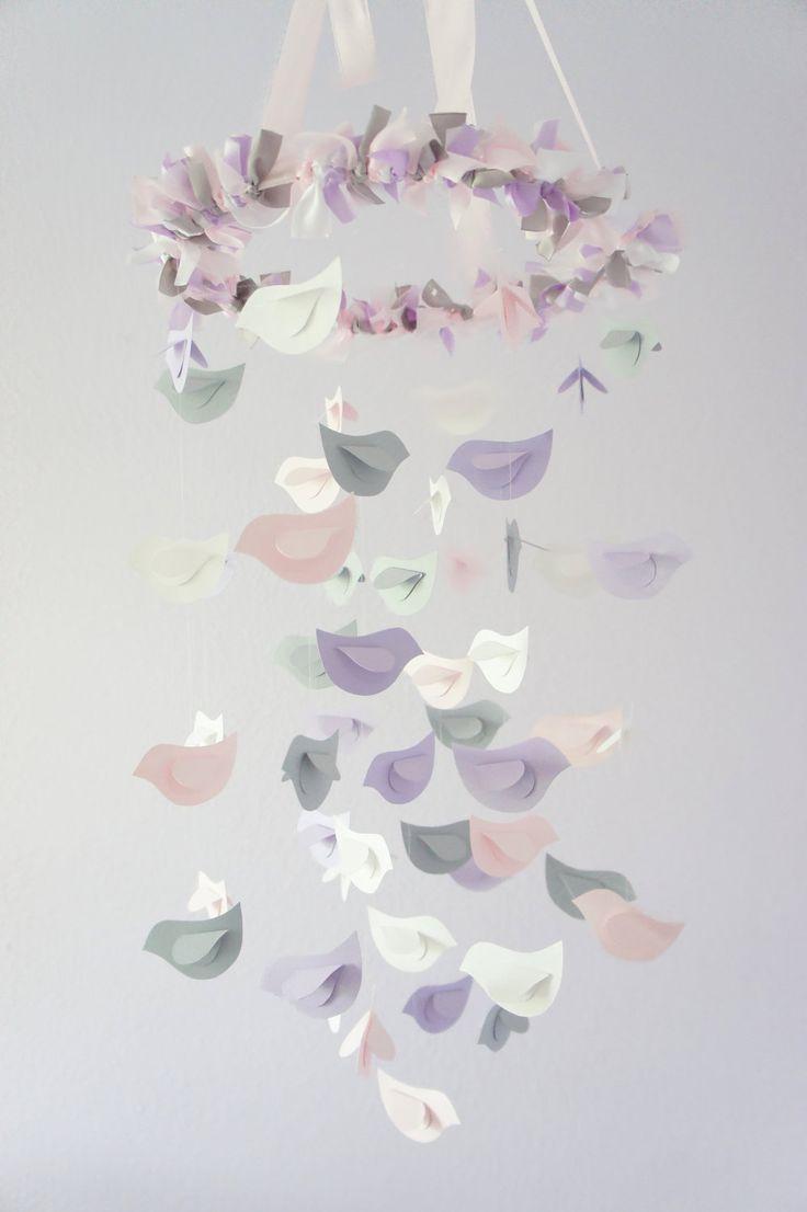 Nursery Decor Mobile- Lavender, Baby Pink, Gray, & White Birds. $63.00, via Etsy.