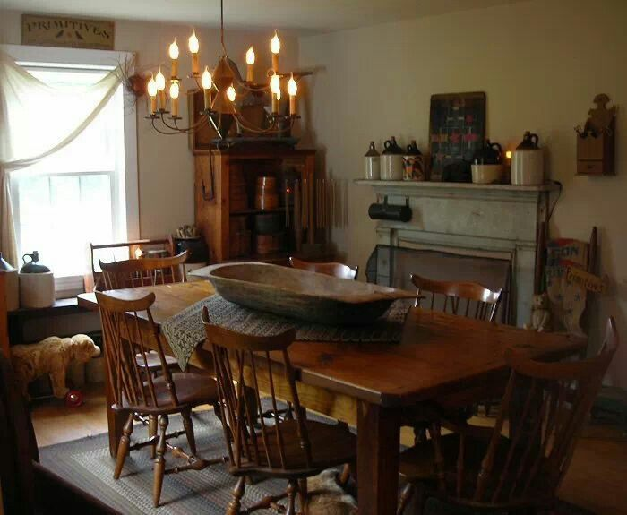 337 best primitive dining room images on pinterest for Primitive dining room furniture