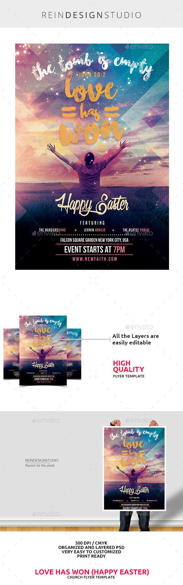 Love Has Won Happy Easter Church Flyer — Photoshop PSD #invitation #word • Available here → https://graphicriver.net/item/love-has-won-happy-easter-church-flyer/15019376?ref=pxcr