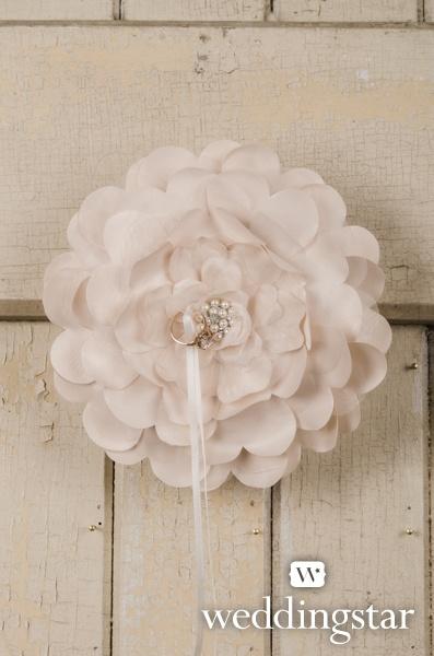 Romantic Pink Wedding. Sensational Floral Ring Pillow. {fancy, floral, elegant, ring cushion, ring bearer, flower, ivory, white, ribbon, wedding #ring}