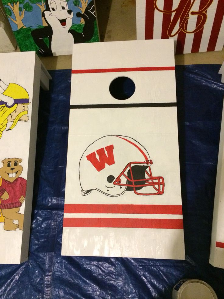 Wis. Badgers Bucky  Corn Hole Boards #UWBadgers #Wisconsin #Badgers #Bucky #CornHoles #BeanBagBoards