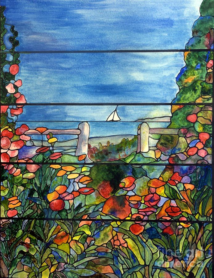 stained glass landscape | Stained Glass Tiffany Landscape Window With Sailboat Painting