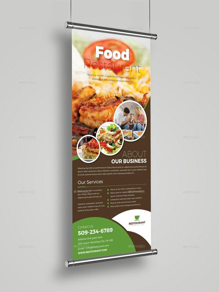 Food Restaurant Roll Up Banner Signage Template #Roll, #Restaurant, #Food, #Template