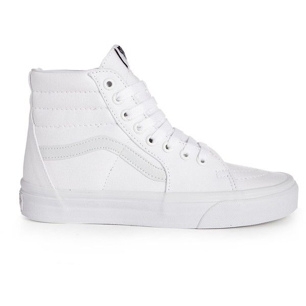 Vans SK8-Hi Top True White Trainers ($68) ❤ liked on Polyvore featuring shoes, sneakers, vans, white shoes, high top trainers, hi tops, vans sneakers and lightweight sneakers