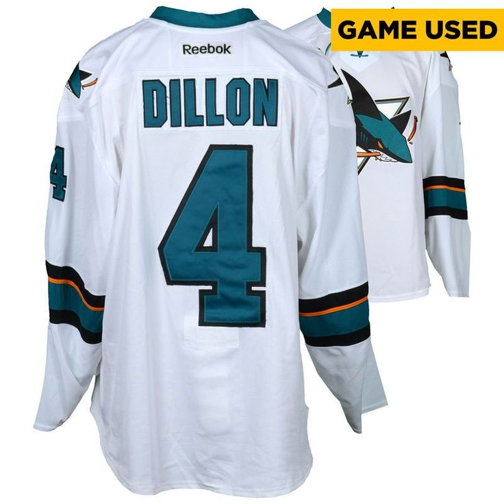 Brenden Dillon San Jose Sharks Fanatics Authentic Game-Used Away White #4 Jersey used during all games between March 30, 2017 to April 3, 2017 - Size 58
