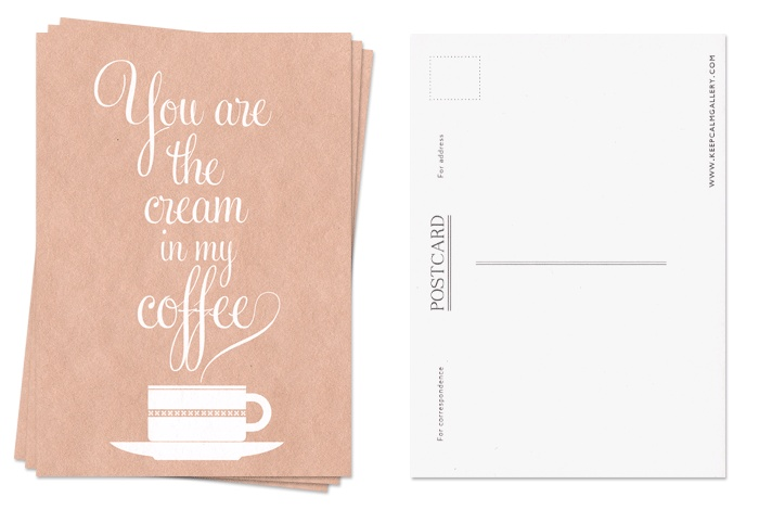 I love cream in my coffee; so these postcards would be perfect to send:)