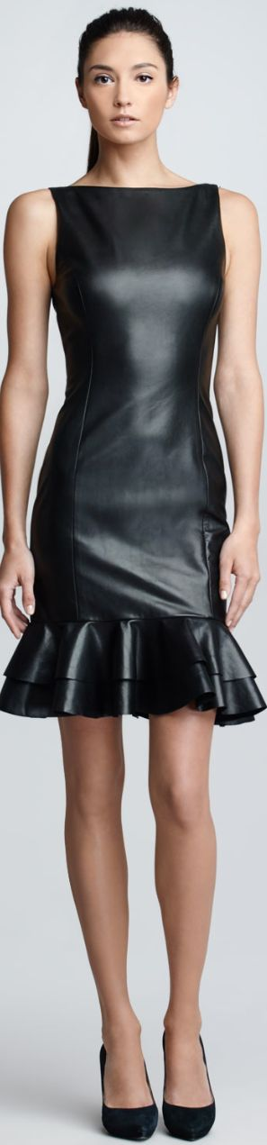 Ralph Lauren Black Label Ruffled Leather Dress ♥✤ | KeepSmiling | BeStayBeautiful