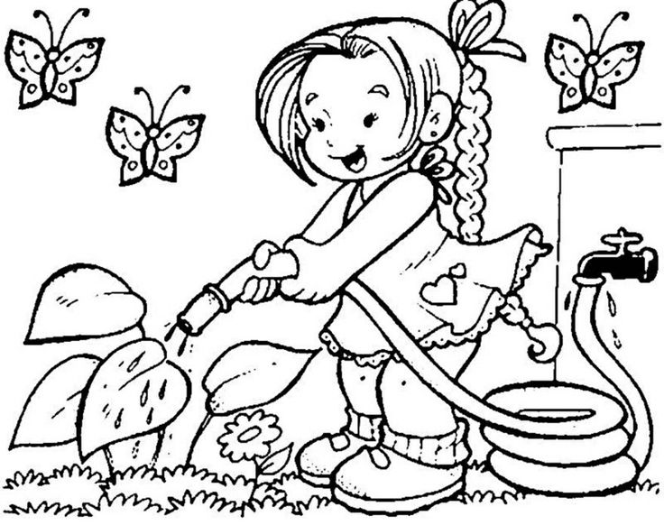 a girl is watering plants