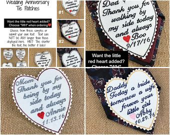 """UNIQUE GIFTS FOR THE FATHER AND MOTHER OF THE BRIDE and also for wedding anniversaries!  Small 3"""" patches to be sewn, pinned or ironed on the back side of a tie, inside a jacket, dress or bag for a wonderful keepsake!   Choose sayings and colors!  Also have them for the father and/or mother of the groom, the groom, the bride herself and other family members and friends!"""