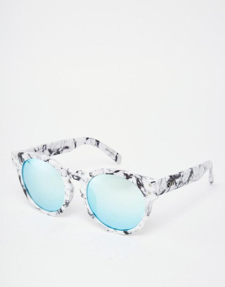 Quay Australia | Quay High Emotion Round Marble Mirror Sunglasses at ASOS