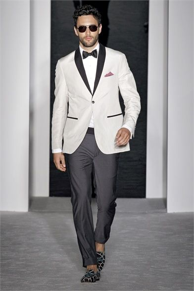 Michael Bastian - two tone #groom look with contrasting shawl collar, cuffed pants, and slippers