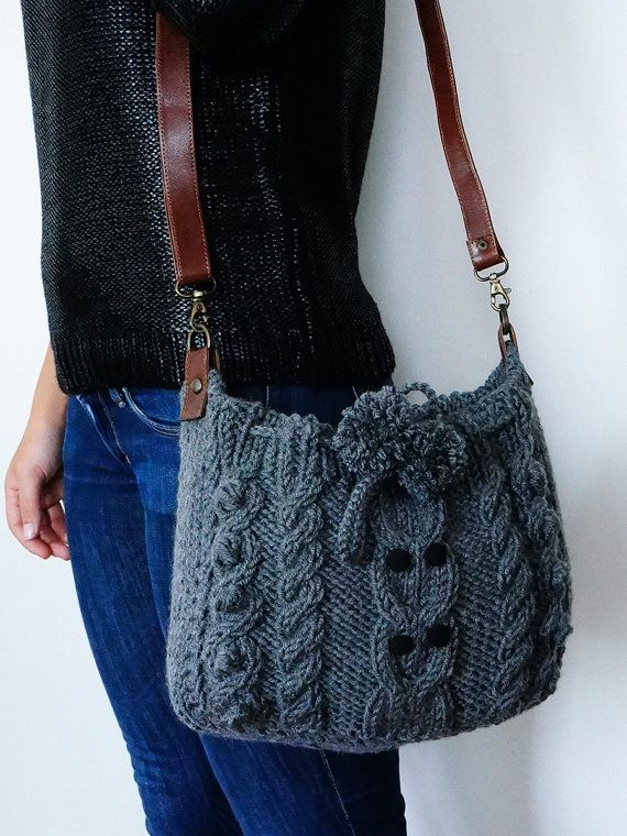 Cable knit bag.
