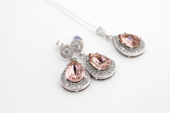 Blush Swarovski Earrings and Necklace Set