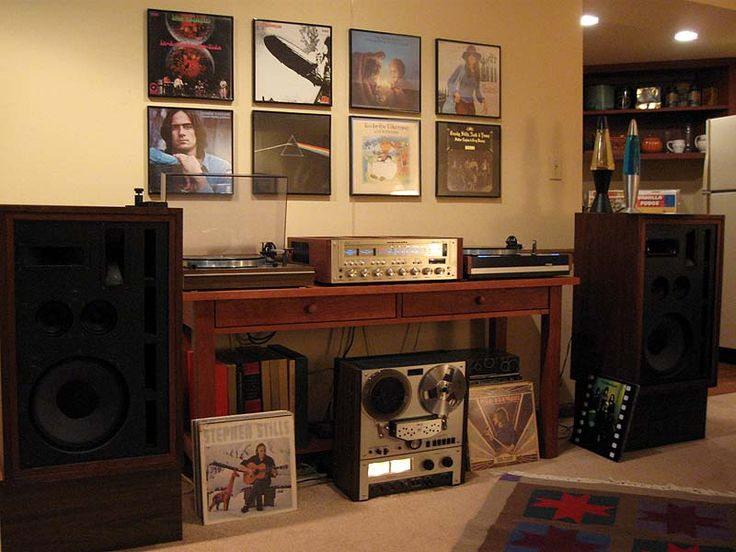 Marantz 2330b receiver, Thorens TD-165 turntable, Thorens TD-126 turntable, Frazier Model Seven speakers, and Akai GX-266D reel to reel tape deck.