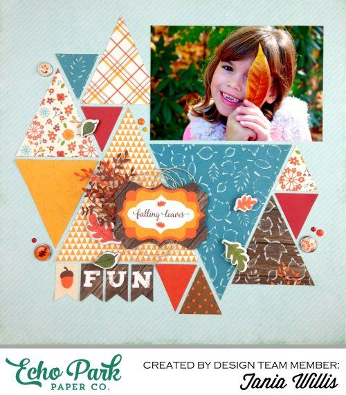 """""""Falling Leaves"""" layout by Tania Willis with """"The Story of Fall"""" collection by #EchoParkPaper. Tania used designer embossing folders to add texture to the leaves on her layout!"""