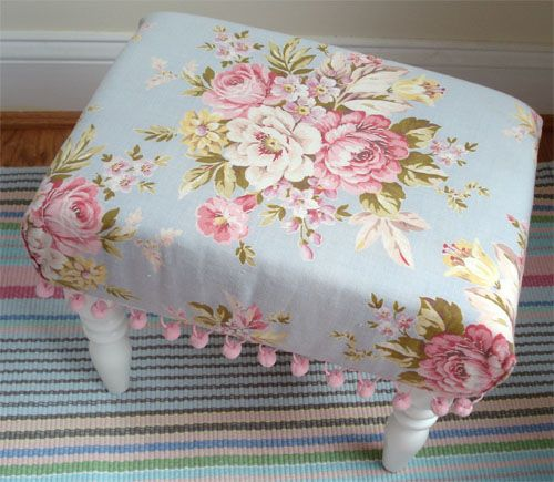 Inspiration for my little foot stool project.  I've had the little stool since I was young but do I need a stool with the wooden letters of my name on it? Nope; I need a pretty one to match my living room!
