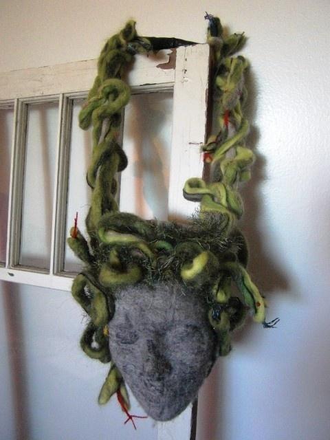 Custom Purse Gorgon head with Medusa snake hair. $100.00, via Etsy.