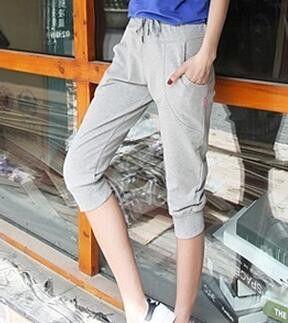 Women Sport Pants Leisure Thin Knee Length Women Capris Pants Summer Slim Casual Sports Harem Pants Plus size S-XL 4 Colors