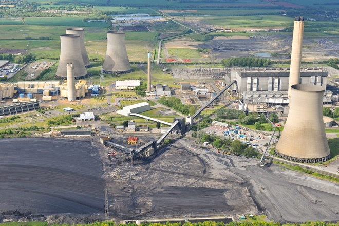 An aerial photograph of the coal and gas fired Didcot power stations in Oxfordshire