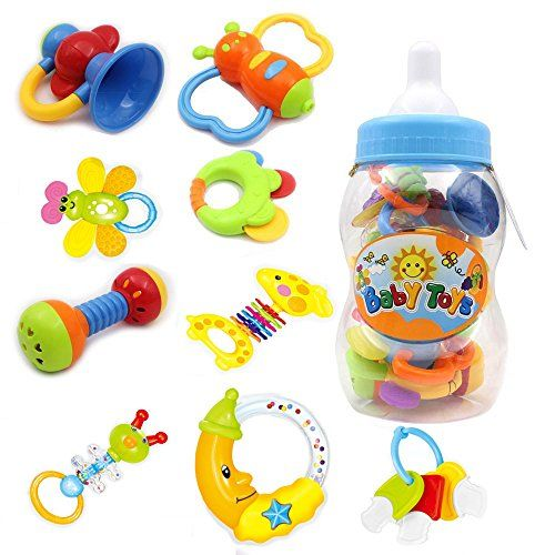 Babys First Rattle and Teether Toy 9 Pieces with Giant Baby Bottle Coin Bank Gift Sets Colors May Vary ** Want to know more, click on the image.Note:It is affiliate link to Amazon.
