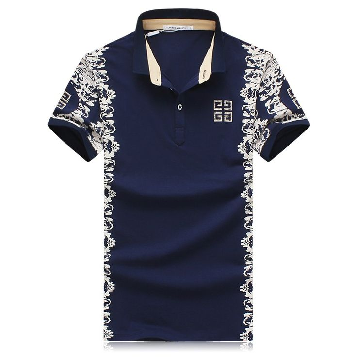 Chinese Style Navy Cotton Floral Print Bodycon T-shirt for Men -  iDreamMart.com