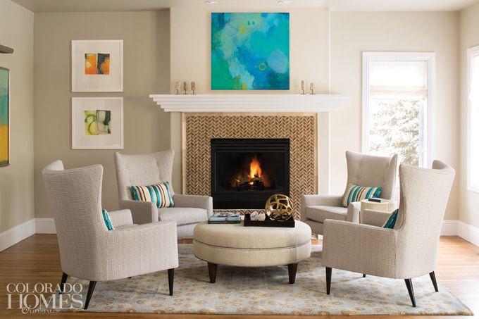 "House of Turquoise: Armijo Design Group   Stella  fireplace ""herringbone"" design."